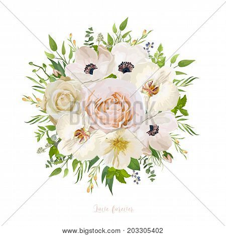 Flower round wreath bouquet of garden pink peach Rose Anemone white orchid camellia natural Eucalyptus seeded branch wax flowers mint leaf herb & berry. Vector illustration. Elegant watercolor design