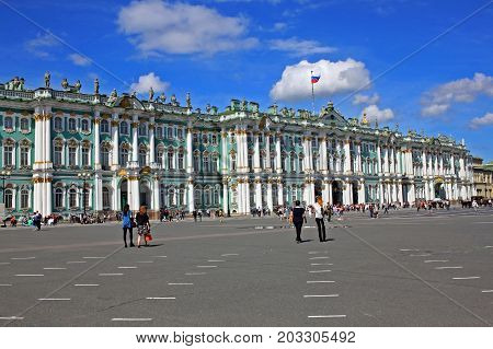 Saint Petersburg Russia - 14 July 2016: From 1732 to 1917 the official residence of the Russian monarchs. Today the restored palace forms part of a complex of buildings housing the Hermitage Museum