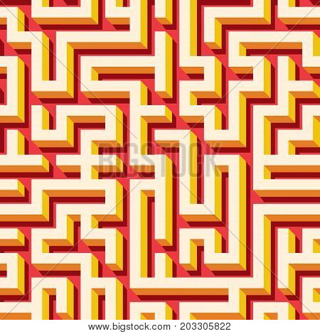 Maze seamless pattern with colorful endless tiled labyrinth for fabric or wallpaper