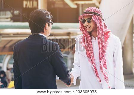 Arabic Businessmen Hand Shaking, Overseas Business