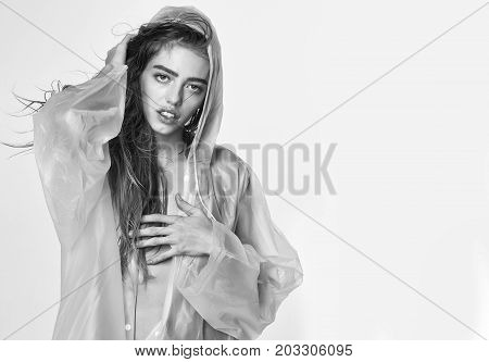 Fashion Model In Sexy Raincoat