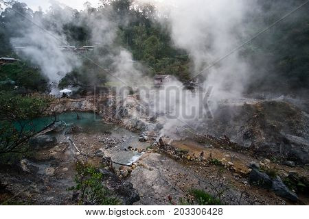 Kawah Cibuni (rengganis) - Hot Springs Inside Crater Of Volcano, Near Famous Landmark Kawah Putih, C