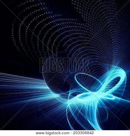 Abstract blue and black background. Fractal graphics series. Three-dimensional composition of dots, waves and rays of light.