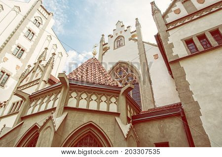 Maisel synagogue in Prague Czech Republic. Architectural theme. Religious architecture. Travel destination. Beauty photo filter.