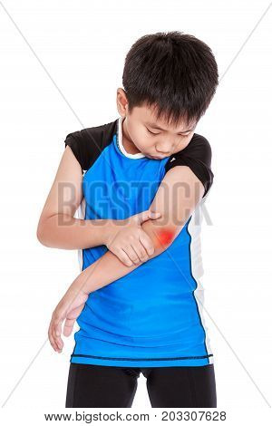 Asian Child Cyclist Injured At Elbow.   Isolated On White Background.