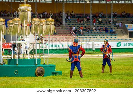 Naadam Festival Guards Nine White Banners Stadium
