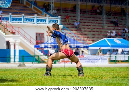 Naadam Festival Wrestler Celebrating Eagle Dance