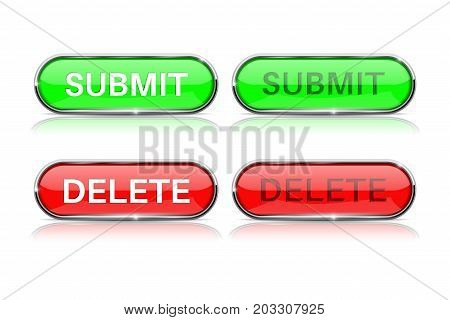 Submit and Delete buttons. Red and green icons with metal frame. Vector illustration isolated on white background