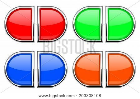 Glass buttons with chrome frame. Colored web 3d icons. Vector illustration isolated on white background