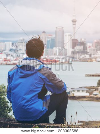 Young Man Looking Auckland City Skyline