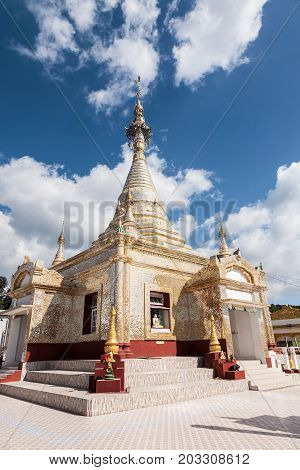 The glittering Aung Chang Tha stupa temple building in the hill station town of Kalaw in the Shan state of central Burma