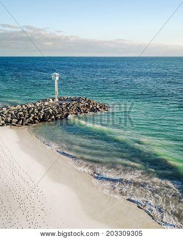 Aerial photograph of the sea wall at City Beach, Perth, Western Australia, Australia.