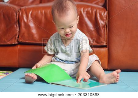 Portrait of Cute little Asian 18 months / 1 year old baby boy child sitting on floor near sofa in living room enjoy reading and point to a book / storybookChild development & education concept