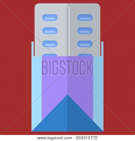 Pills in a blister pack vector illustration. Flat style design. Colorful graphics