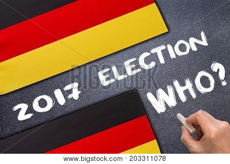Election 2017, Germany on the chalk board. Election concept