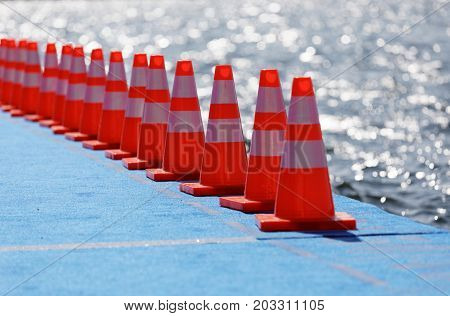 STOCKHOLM - AUG 26 2017: Red cones on at the start of the triathlon swimming bridge in the Women's ITU World Triathlon series event August 22 2017 in Stockholm Sweden