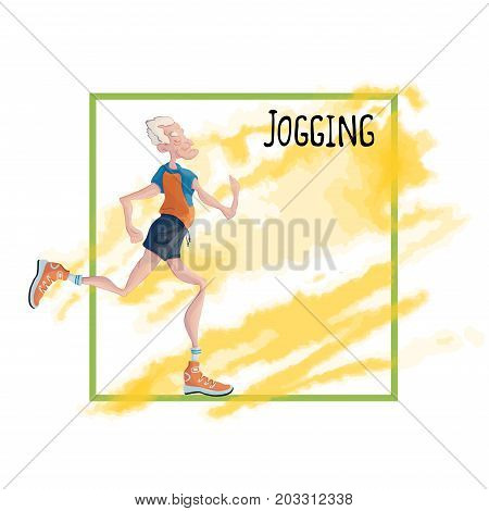 The running old man. Active lifestyle and sport activities in old age. Template for poster or flyer for a running club or sporting event. Vector illustration, isolated on white background.