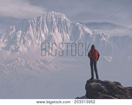 Young man up the mountain admires mountain scenery winter . This is a 3d render illustration