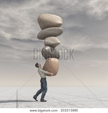 Young man with a pile of stones in balance - meditation stones. This is a 3d render illustration
