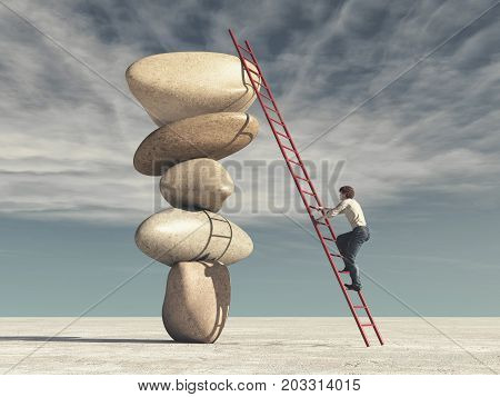 Young man climbs a ladder supported by stones in balance - meditation stones. This is a 3d render illustration