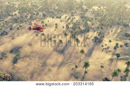 Old airplane flying over a tropical forest. This is a 3d render illustration