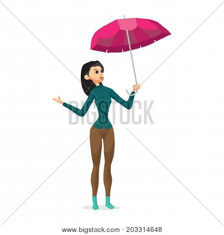 Young woman holding her umbrella putting out his hand checks to see if the rain is coming.. Girl in the fall during bad weather. Flat cartoon vector illustration