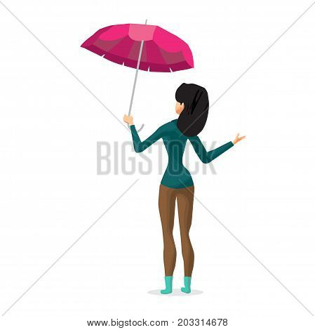 Young woman holding her umbrella putting out his hand checks to see if the rain is coming.. Girl in the fall during bad weather. Back view. Flat cartoon vector illustration