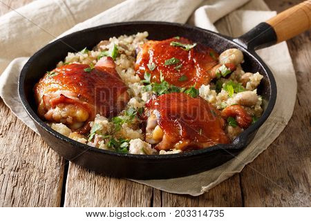 Baked Chicken Thighs With Organic Quinoa And Mushrooms Close Up. Horizontal