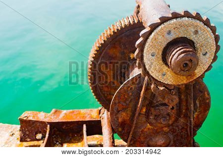 old metal cleat on dock transportation, trave horn, industry, marine beauty
