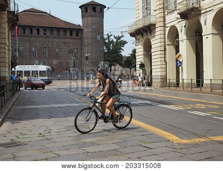 People In City Centre In Turin