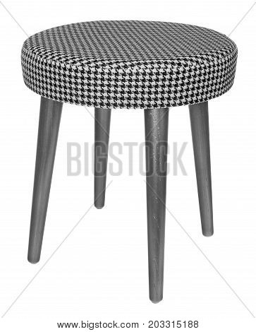 Handmade Stool In Silvery Gray With Black And White Pattern Material.