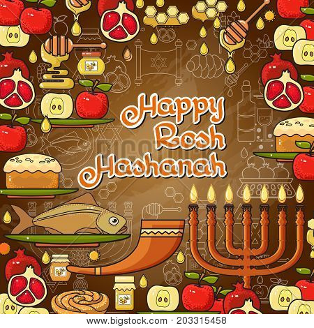 Rosh Hashanah card. Jewish holiday Rosh Hashanah design elements. Menorah, apple, honey, fish, shofar, pomegranate and Jewish star. Happy Rosh Hashanah handwritten lettering. Vector illustration.