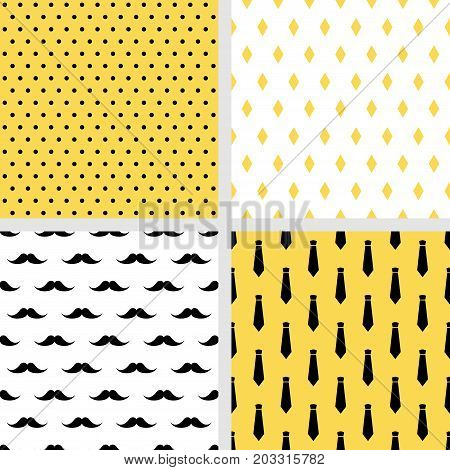 Set of printable vector seamless male patterns. Fashion backgrounds. Mustaches, neckties, polka dot