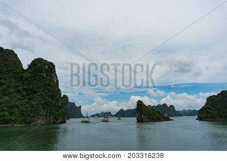 Cruise Boats Against Spectacular Halong Bay Landscape