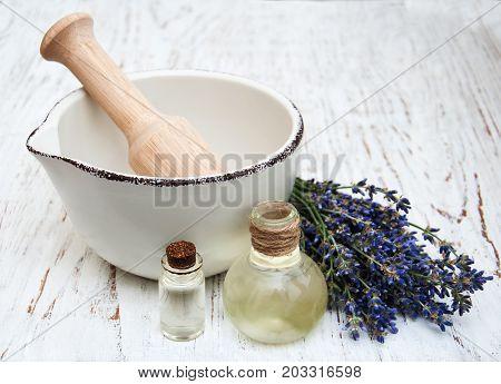 Lavender Oil And Fresh Lavender