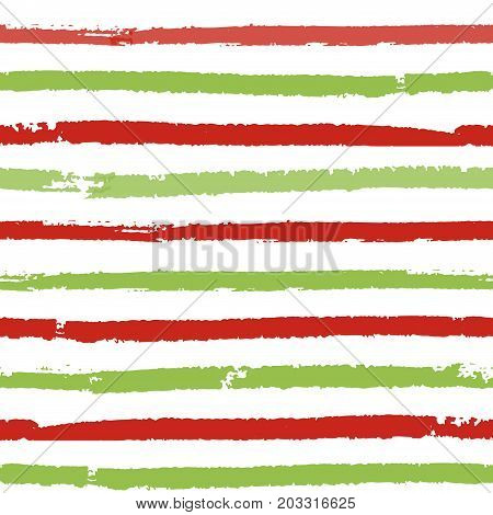 Christmas striped background. Seamless vector pattern with brush painted lines. For fashion print, wallpaper, wrapping paper, packaging, card design