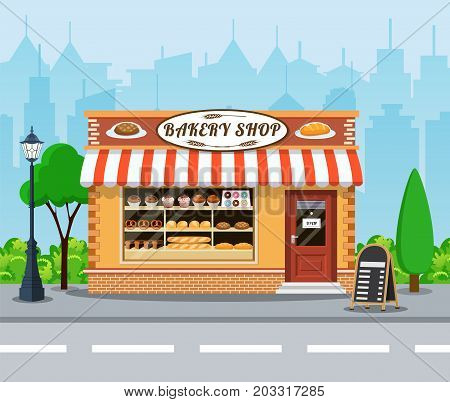 Bakery shop building facade with signboard. Bakery facade flat icon. Cityscape, buildings, clouds. vector illustration in flat style