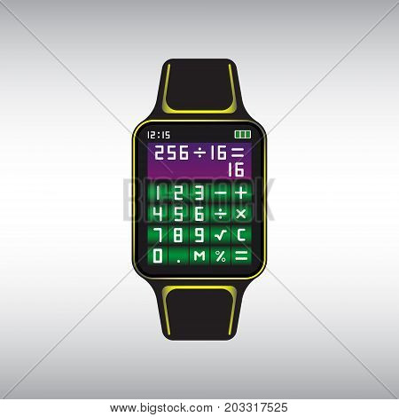 Black smart watch with calculator app on the screen. Isolated smart watch vector sign. Smart watch flat vector icon.