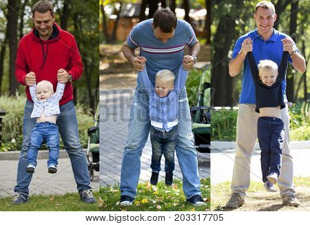 A collage of three temporary photographs - two, three and four years old boy, whose father holds hands in the summer park