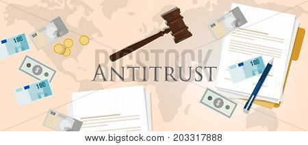 antitrust law monopoly competition hammer paper and money market trust lawsuit vector