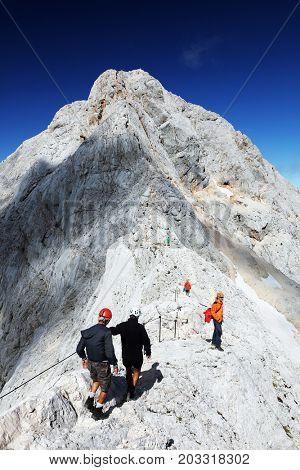 TRIGLAV, AUGUST 12, 2017 - Climbers on Triglav Peak, Slovenia, Europe