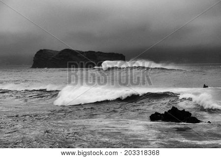 Atlantic ocean waves breaking the shore
