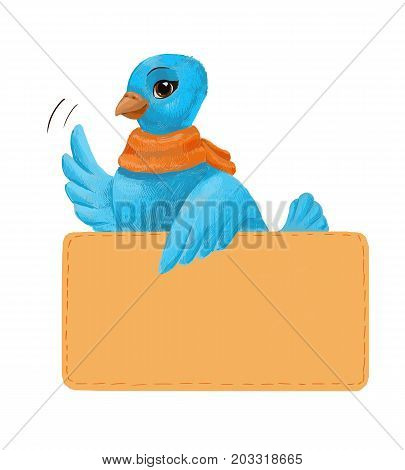 little blue bird with a piece of paper. illustration for subscribing or sending mail