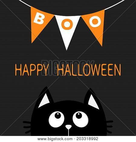 Cat face head silhouette looking up to Bunting flags Boo letters. Flag garland. Happy Halloween card. Party decoration element. Hanging text on rope thread. Flat design. Black background. Vector