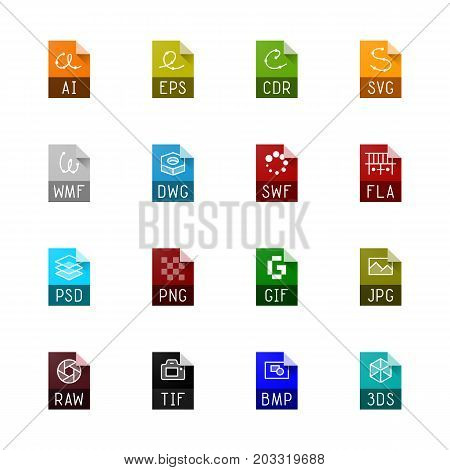 File type icons. File extensions vector illustration. File type and document types in line style. Popular file formats signs. Professional vector icons for graphics file types.