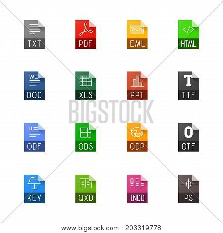 File type icons. File extensions vector illustration. File type and document types in line style. Popular file formats signs. Professional vector icons for text, font and page layout file types.