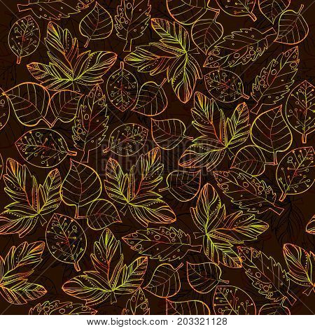 Vector illustration of Autumn graphic with color stylize seamless pattern. Doodle design for backdrop. Drawing leaves, foliage of maple nature.