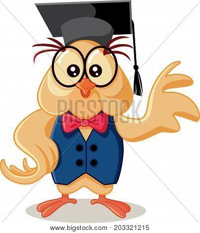 Cute Owl with Graduation Cap Vector Cartoon