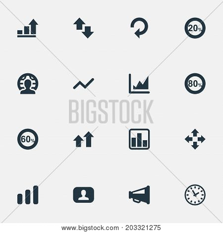 Elements Megaphone, Chart, Percentage And Other Synonyms Eighty, Speaker And Line.  Vector Illustration Set Of Simple Diagram Icons.