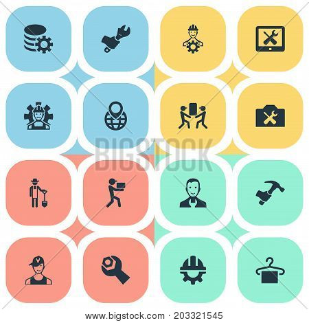 Elements Engineer, Gear, Delivery Worker And Other Synonyms Gadget, Gear And Folder.  Vector Illustration Set Of Simple Help Icons.